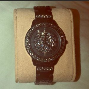 Fossil watch - black with crystals 💕